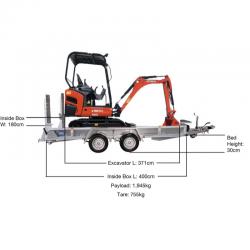 Kubota KX016-4 Compact Excavator beavertail Trailer